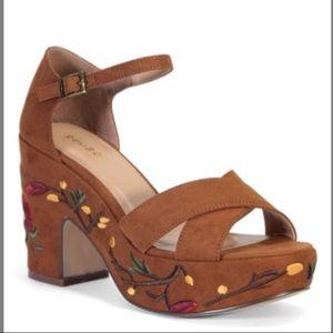 Embroidered platform suede sandals